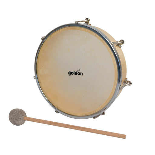35365 Goldon Tambourine Natural Skin with Felt Beater 20 cm