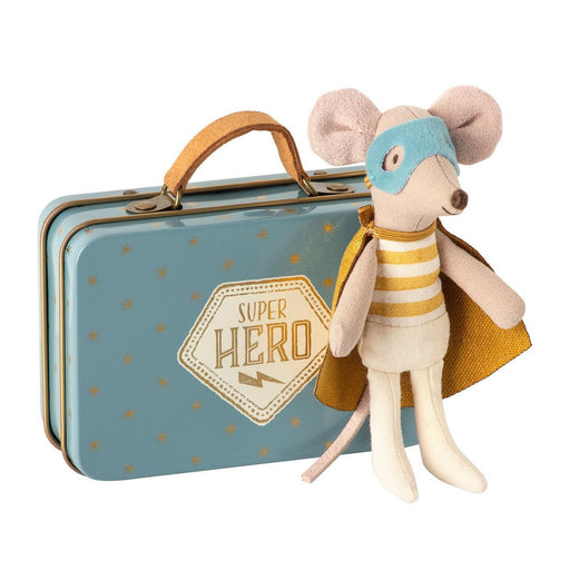 maileg little brother superhero mouse in suitcase