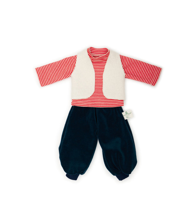 612405 Nanchen Natur Doll Clothing Set Red Shirt White Vest