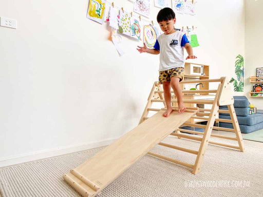 MOOV Baby Climbing Ramp Slide and Pikler Folding Triangle. Copyright: Oskar's Wooden Ark