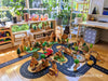 Small World play with Predan handmade wooden toys and Waytoplay flexible toy road. Copyright: Oskar's Wooden Ark.