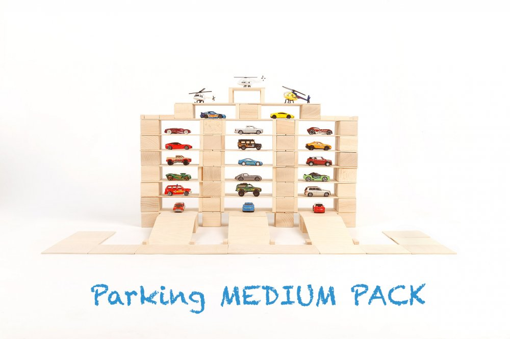 Just Blocks Wooden Blocks Medium Pack 166 pieces