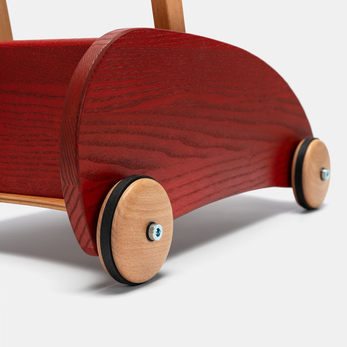 Verneuer Wooden Walker Wagon with Brake Red