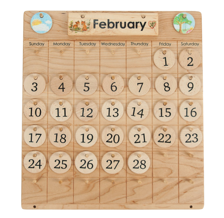 Wooden Perpetual Montessori Calendar Natural Days From