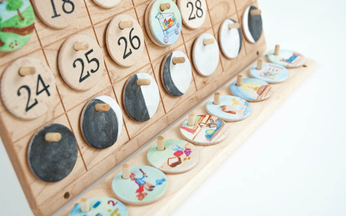Wooden Perpetual Calendar Natural Days Treasures From Jennifer