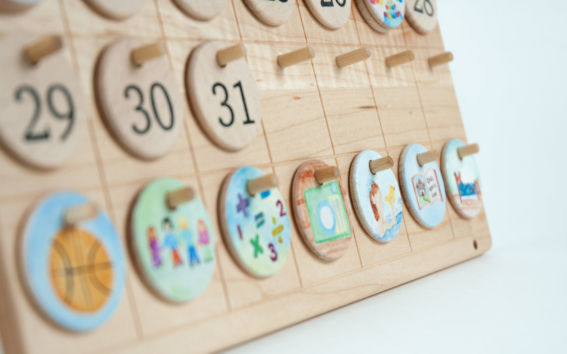 Wooden Perpetual Calendar Waldorf Coloured Days Treasures From Jennifer