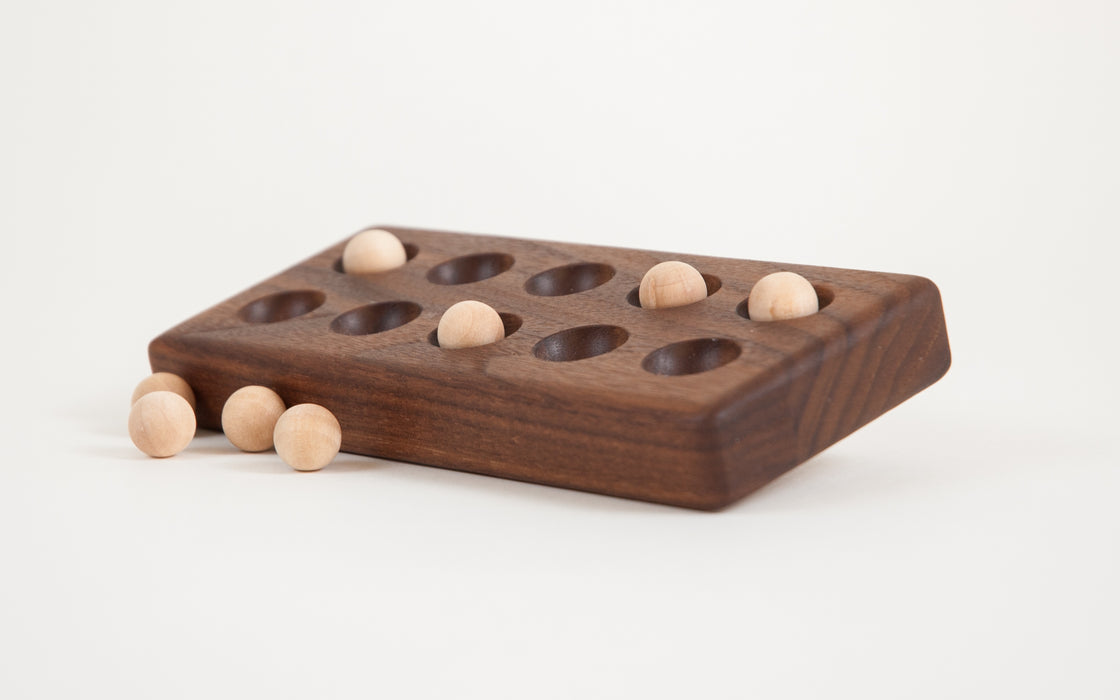 Wooden Walnut Ten Frame with Wooden Balls Treasures From Jennifer
