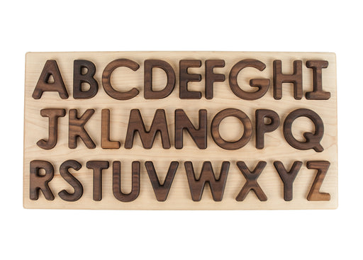 Wooden Walnut Capital Alphabet Letters Puzzle Treasures From Jennifer