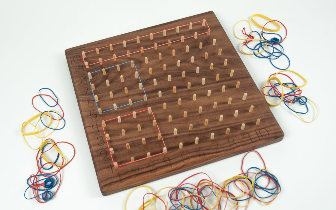 Wooden Walnut Multiplication Hundred Geoboard