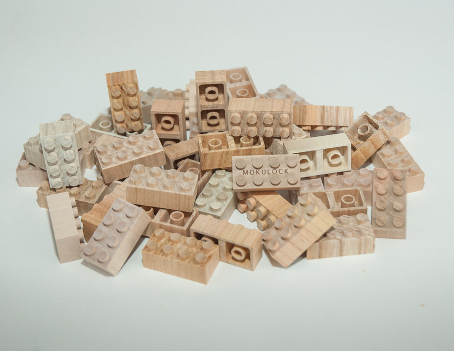 WT-MLBS048-R Mokulock Wooden Building Bricks 48 Pieces Australia
