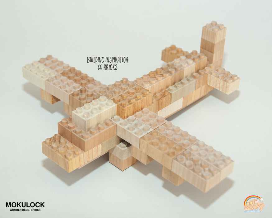 WT-MLBS060-R Mokulock Wooden Building Bricks 60 Pieces Australia