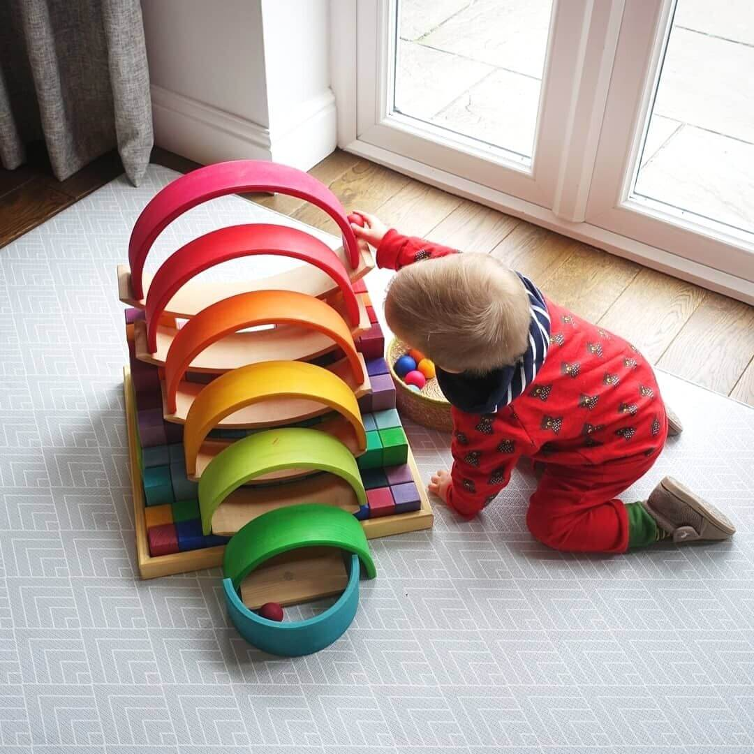 Toddler ball run with Grimm's Wooden Toys