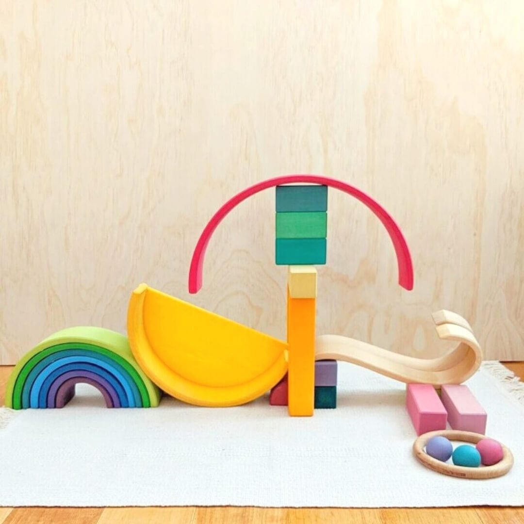 A ball run created with Grimm's Wooden Toys