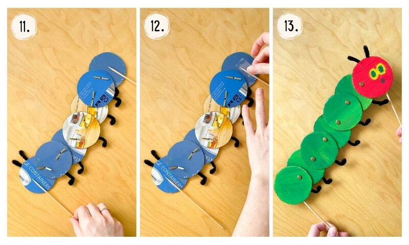 Attach skewer sticks and enjoy playing with your very own Hungry Caterpillar puppet