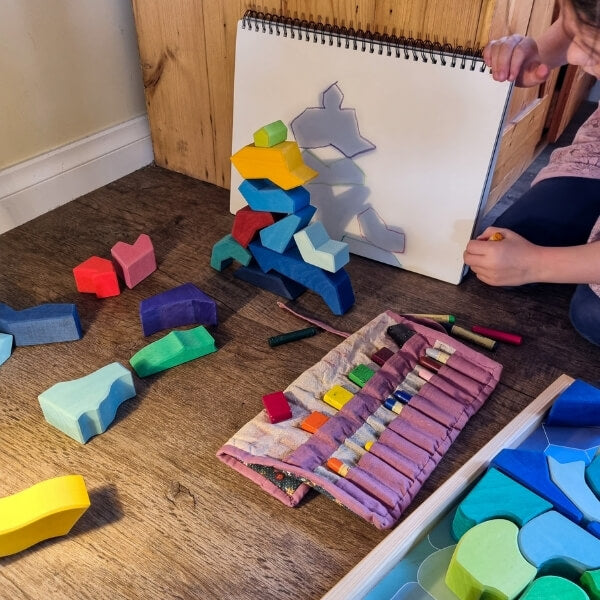 Creative Play with the Grimm's Four Temperaments Building set - Exploring light and shadow