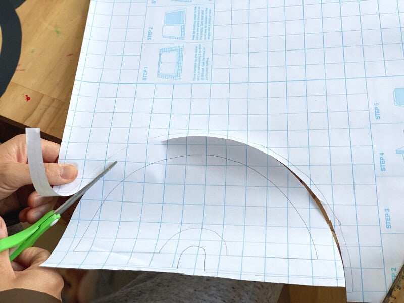 Step 3 - Trace the same outline on clear contact and cut out the shape