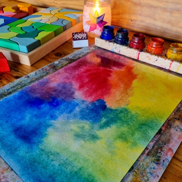 Creative Play with the Grimm's Four Temperaments Building set - Painting the four temperaments