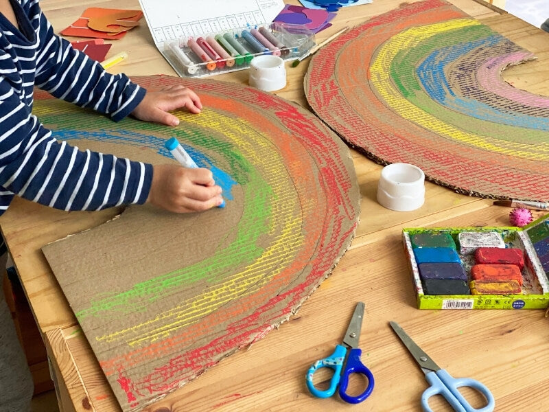 Colouring in using Kitpas Crayons