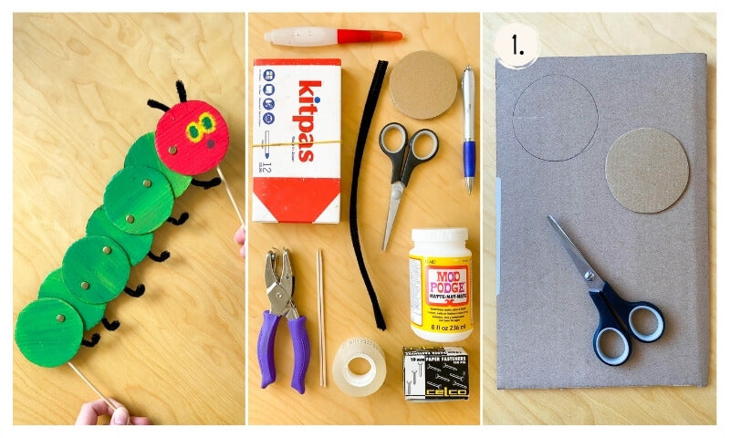 Everything you will need to make your caterpillar puppet