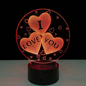 Lampe 3D LED Coeur Coeur Love