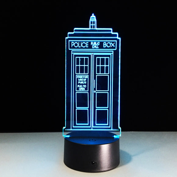 Lampe 3D LED Police Box