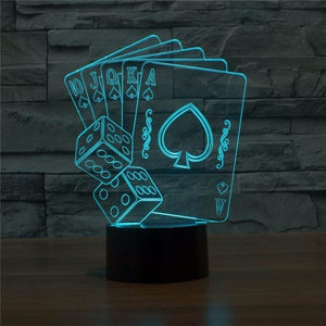 Lampe 3D LED Cartes Poker