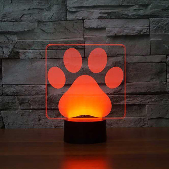 Lampe 3D LED Patte de Chien