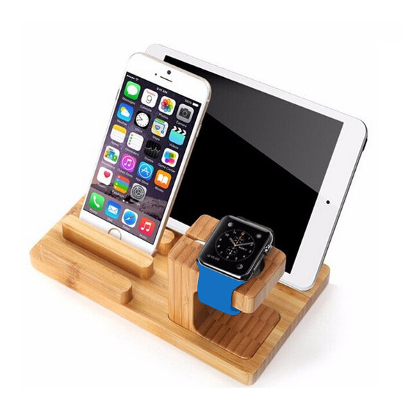 Support de Chargeur en Bambou pour Apple Watch et iPhone