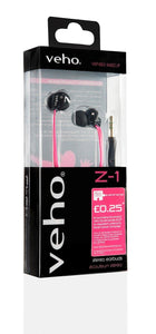 VEHO EARBUDS IN FLAT PINK FLEX ANTI TANGLE CORD / MP3 PHONE IPOD