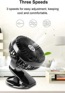 Portable Clip-on & Desk Stroller Fan, USB Rechargeable Battery, Black