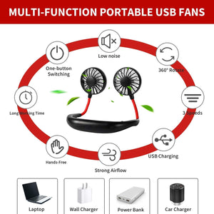 Portable Neckband Hand-Free Neck Hanging Fan, USB Rechargeable, Black