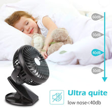Load image into Gallery viewer, Portable Clip-on & Desk Stroller Fan, USB Rechargeable Battery, Black