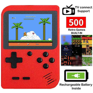 Handheld 8-bit Retro Video Game Console w/ 500 Classic Games, Red