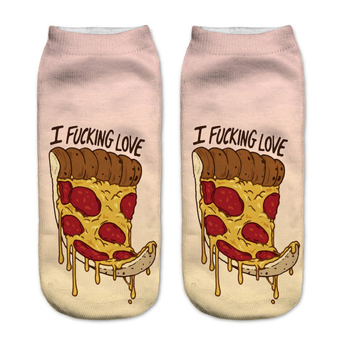Neon3D Printing Low Cut Ankle Socks - Pizza / 20Cm - Accessories