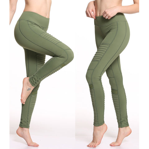 Women Elastic waistband Yoga pants with Mesh Panels High Waiste