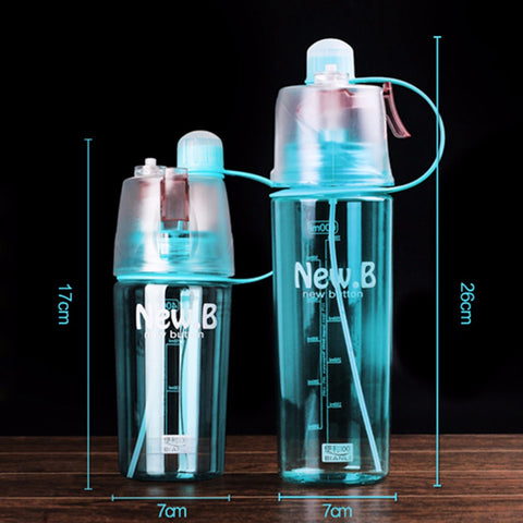 New Creative Spray Water Bottle Portable Atomizing Drinking 400ML 600ML
