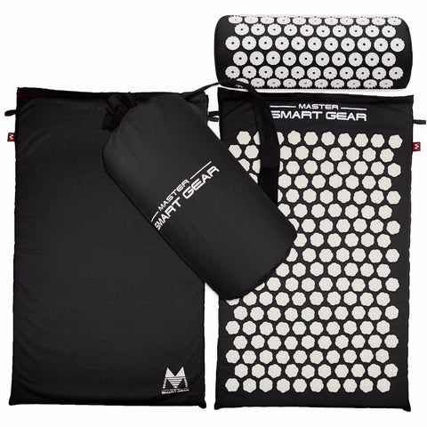 Yoga Mat Acupressure And Pillow Set Back Body Massage Relieve Stress Tension Pain For - Black - Accessories