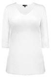 Judy P V Neck 3/4 Sleeve Tunic, WHT White