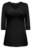 Judy P V Neck 3/4 Sleeve Tunic, BLK Black