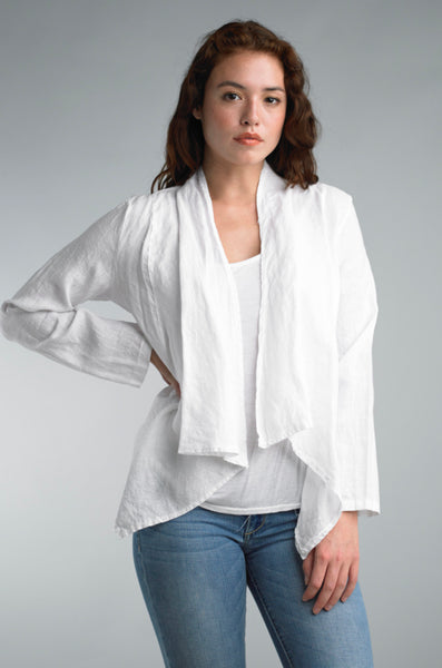 Short Linen Jacket, White