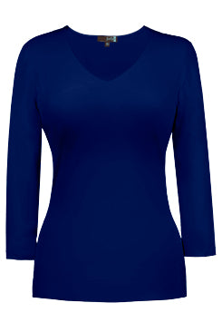 Judy P V-neck 3/4 Sleeve Top, NAV Navy