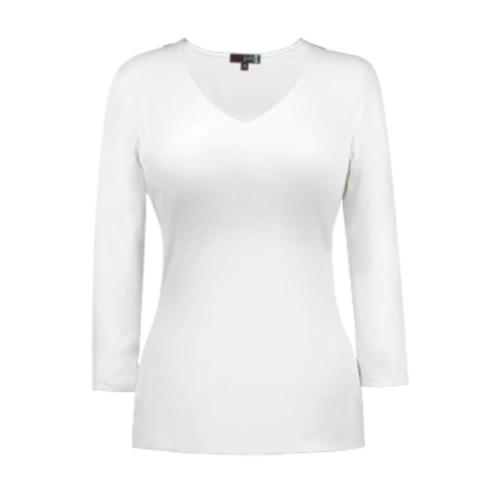 Judy P V-neck 3/4 Sleeve Top, WHT White