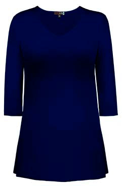 Judy P V Neck 3/4 Sleeve Tunic, NAV Navy