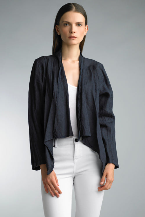Short Linen Jacket, Navy