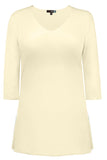 Judy P V Neck 3/4 Sleeve Tunic, PRL Pearl