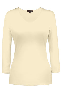 Judy P V-neck 3/4 Sleeve Top, PRL Pearl