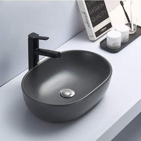 Basin Mexen Dark Matte Grey Oval Countertop Basin | L39 Mexen