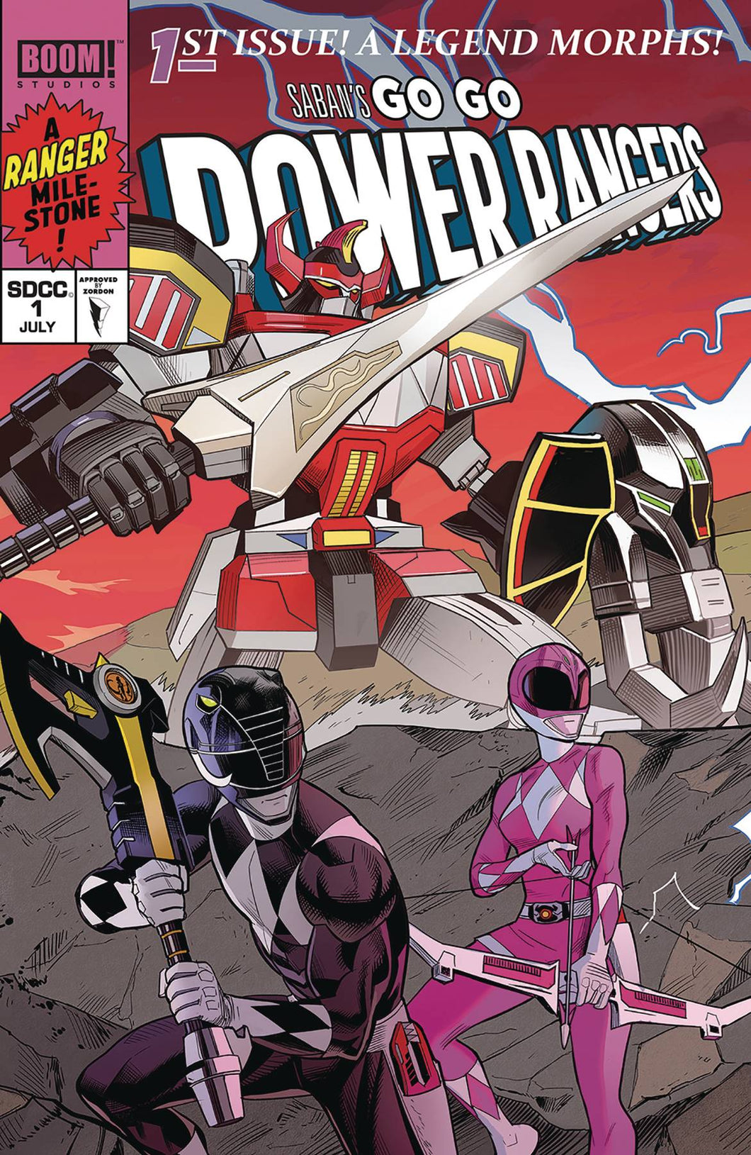 GO GO POWER RANGERS #1 MORA SDCC CONNECTING CVR A 01/02/19