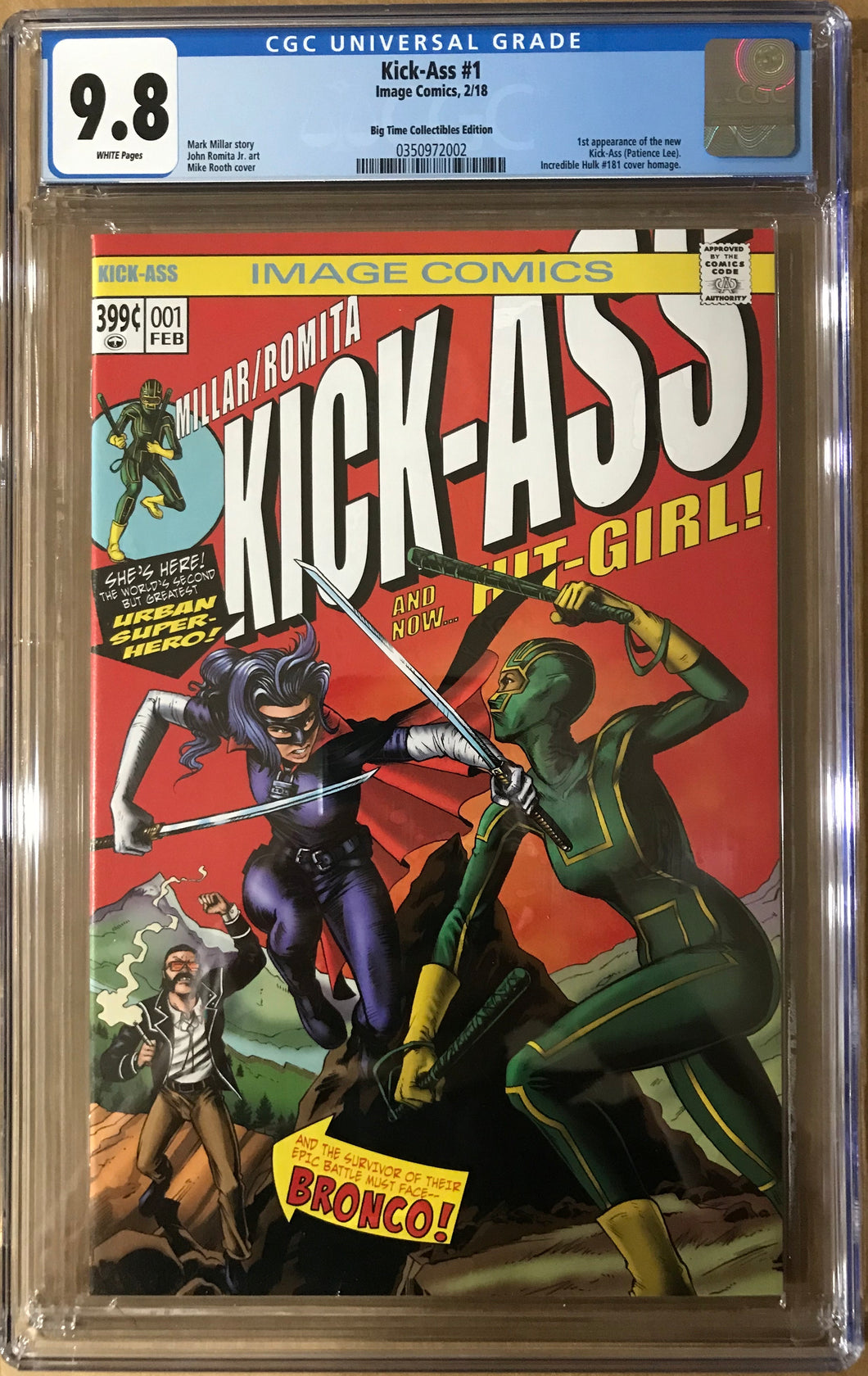 KICK-ASS #1 MIKE ROOTH EXCLUSIVE COVERS CGC 9.8 BLUE LABEL HULK#181 HOMAGE