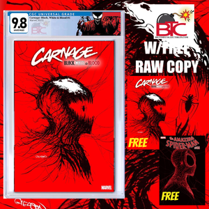 CARNAGE BLACK WHITE AND BLOOD #1 (OF 4) GLEASON VARIANT CGC 9.8 W/FREE RAW COPY OF BOTH CARNAGE & ASM#55 SECOND PRINT